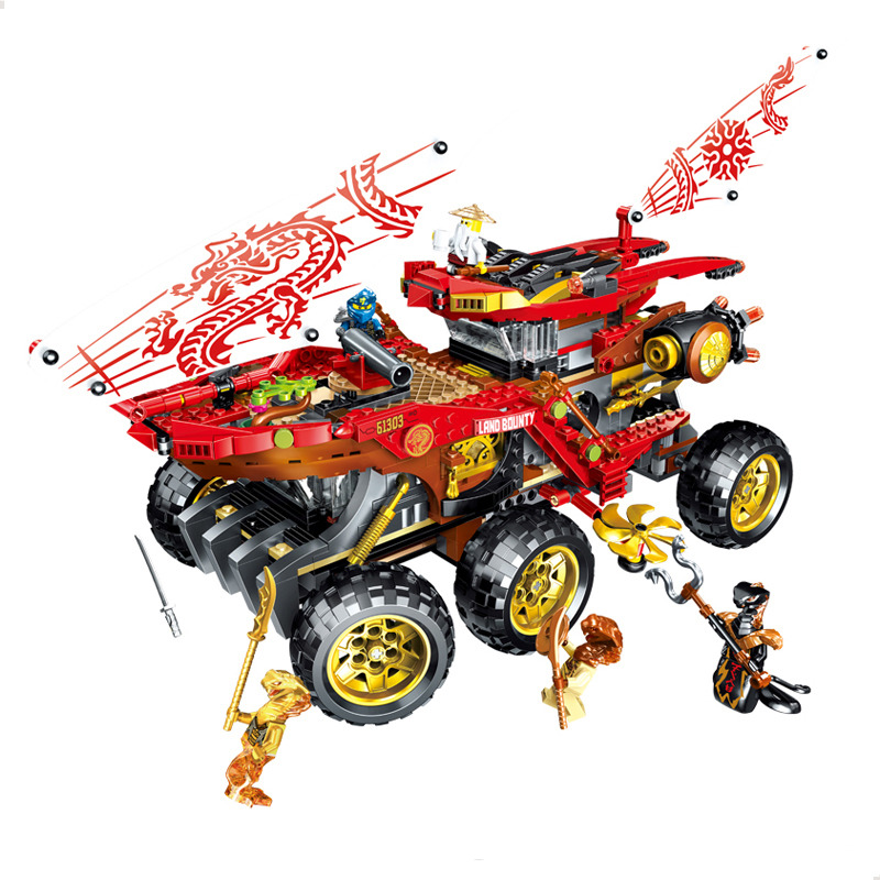 In Stock 61029 858pcs Land Bounty Truck Model Building Blocks with Figures Compatible 70677 Bricks DIY Toys for Children