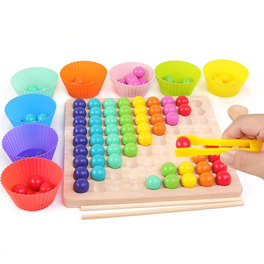 DIY Elimination Bead Toys Colored Beads Clip Bead Games Wooden Gift For Kid Children's Early Education Board Math Games Toys