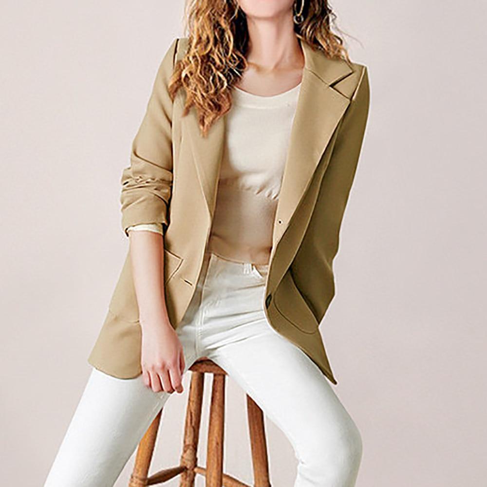 2019 Winter Autumn Women Casual Suit Coat Business Long Sleeve Jacket Outwear Office Ladies Fashion Plus Size Slim Coat New