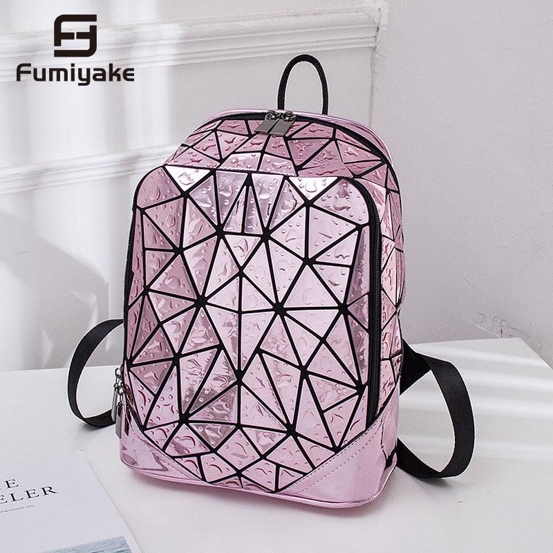 Laptop Backpack Book-Bag Rucksack Geometric-Sequin-Laser School Luminous Casual Women