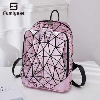 Luminous Geometric Sequin Laser Backpack Female Laptop Backpack Book Bag School Casual Rucksack Travel Daypack Women Backpack - DISCOUNT ITEM  64 OFF Luggage & Bags