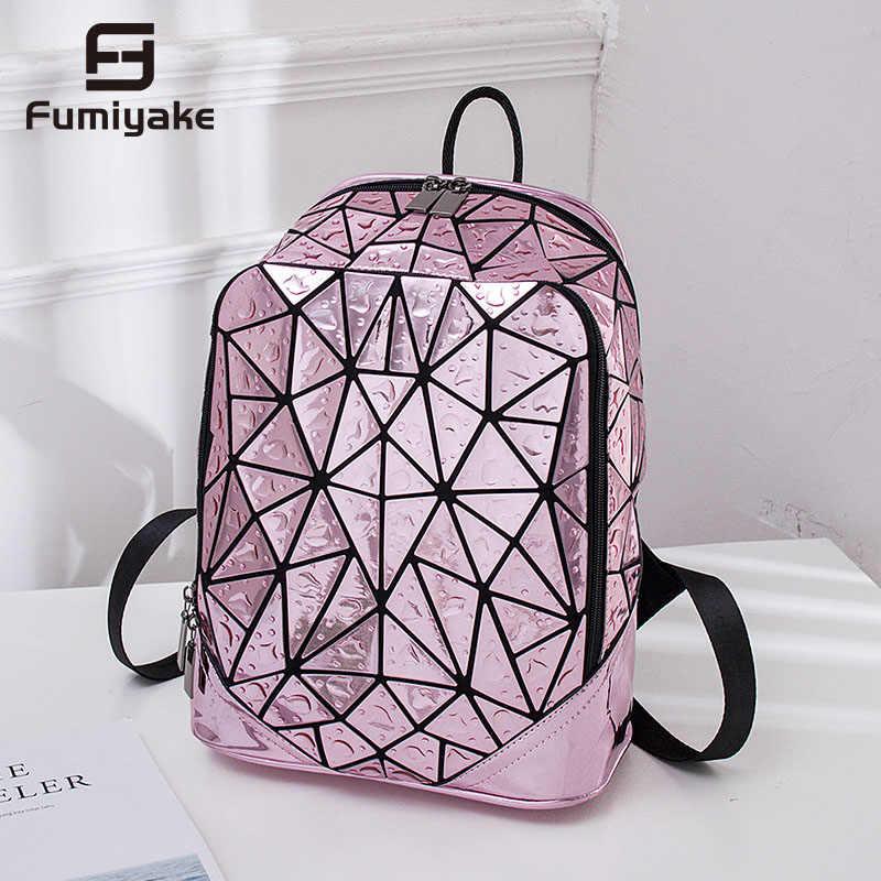 Świetlny geometryczny cekinowy plecak laserowy żeński plecak na laptopa szkolny plecak plecak turystyczny plecak damski