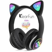 Casque d'écoute sans fil Bluetooth pour filles, musique, mignon, oreille de chat, avec micro et Bracelet licorne, casque de jeu avec téléphone, cadeau