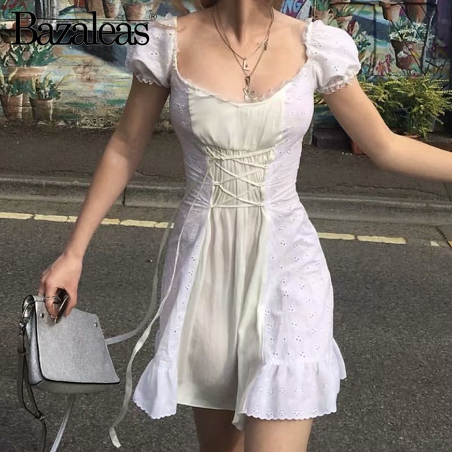 Bazaleas France Lace White embroidery women Dress Vintage Waist Bandage Tie Cross women Dresses Fashion Ruffles vestidos 1