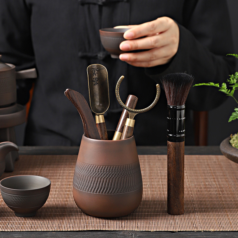 Purple Pottery Tea Ceremony Six Items Kung Fu Tea Set Tea Clamp Tea Spoon Cleaning Pen Cup Holder Blackwood Accessories
