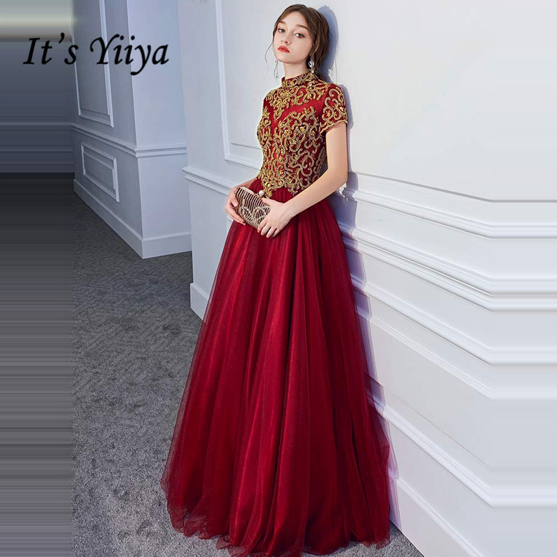 It's Yiiya Evening Dress Elegant Gold Embroidery Formal Dresses Lace Long Plus Size Party Gowns Burgundy Robe De Soiree LF034