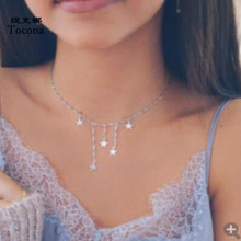 Tocona Charming Star Tassel Chocker Necklace for Women Simple Design Chain 2020 Fashion Party Jewelry Gift Accessories 8222