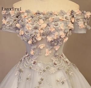 Image 5 - Женское Пышное Платье Lanxirui, серое бальное платье ручной работы с открытыми плечами и цветами, для зимы