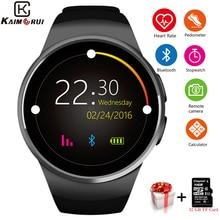 Kaimorui KW18 Smart Degli Uomini Della Vigilanza di Bluetooth Passometer di Frequenza Cardiaca Della Vigilanza di Sport Del Telefono TF SIM Card Smartwatch Per Xiaomi Android IOS