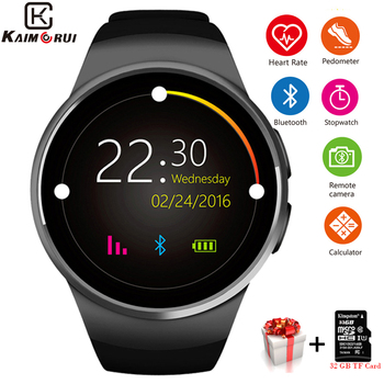 цена на Kaimorui KW18 Smart Watch Men Bluetooth Passometer Heart Rate Sport Watch Phone TF SIM Card Smartwatch For Xiaomi Android  IOS