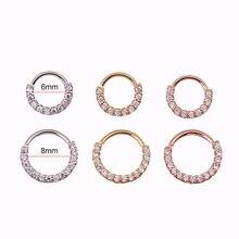 Кольцо для пирсинга носа 6-8 мм, 1 шт., горный хрусталь, кольцо спиральный для хряща, серьги, хрящ, серьги, украшения для пирсинга кольцо для нос...