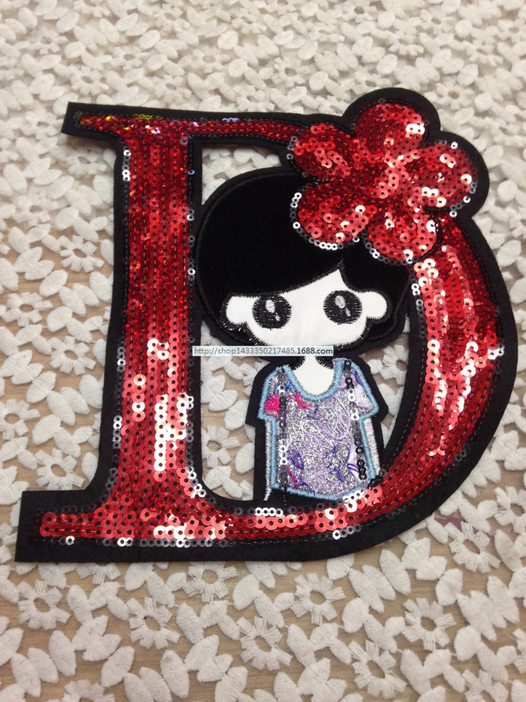 Fashion Design D Character Girl Sequins Patch Handicraft Iron On/sew On Patches  Embroidery