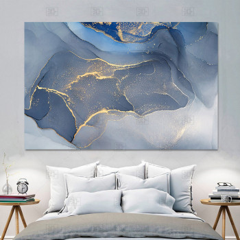 Marble Texture Abstract Poster Gold Blue Wall Art Print Modern Style Canvas Ink Painting Nordic Decorative Picture Home Decor