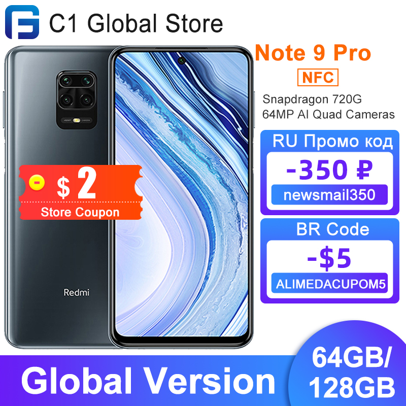 Глобальная версия Xiaomi Redmi Note 9 pro 6 ГБ 64 Гб/128 Гб Смартфон Snapdragon 720 Octa Core NFC 64MP AI Quad камеры 6,67