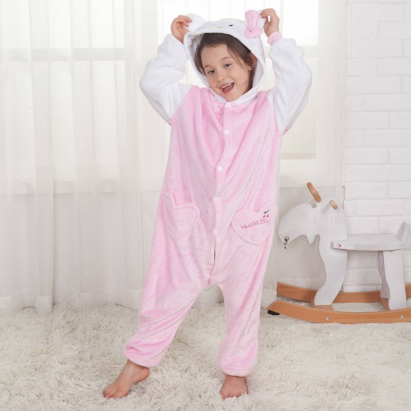 Cartoon Kitty Kids Pajamas Suit Kigurumis Cat Onesie Child Sleepwear Flannel Clothes Carnival Cospaly Party Jumpsuit Children
