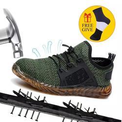 XZMDH дропшиппинг Для мужчин и Для женщин Сталь носком Air защитные ботинки, обувь проколостойкие работы кроссовки Открытый дышащий Мужская