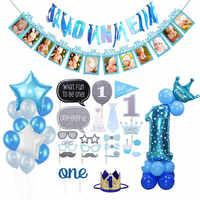1er Primer Cumpleaños niño decoración globos conjunto de papel de aluminio número globo Banner primera fiesta del bebé decoraciones niños Mi 1 año