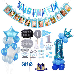 1st First Birthday Boy Party Decoration Balloons Set Foil Number Balloon Banner First Baby Party Decorations Kids My 1 One Year