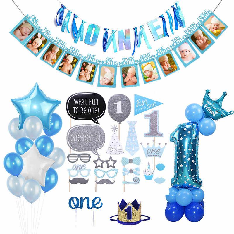 Conjunto de balões para decoração da festa, 1 ° ano de aniversário menino, balões de número folha, bandeira, primeira decoração de festa de bebê, crianças, meu 1 ano