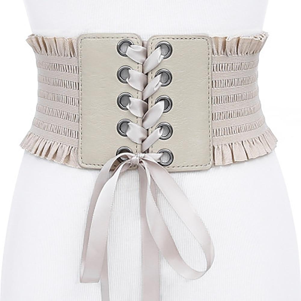 Adjustable Strap Wide Girdle Bands Women Belt Corset Lace Up High Waist Tie Tassel Elastic Girls Fashion Bowknot