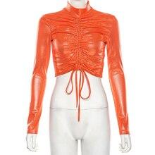 1pc Women Autumn Orange Tops Round Neck Long-sleeved Drawstring Navel Nightclub Short T-shirt Hot Selling New 2019