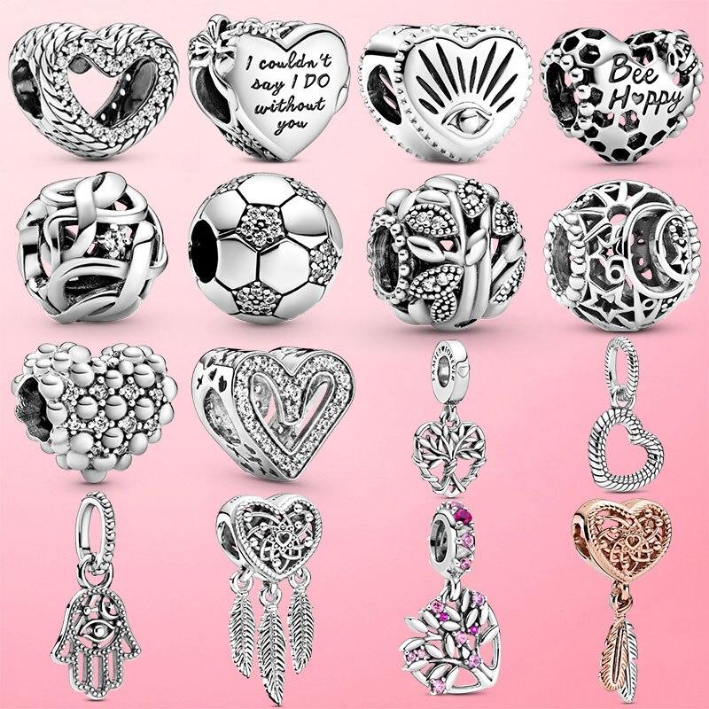 925 Sterling Silver Bee Heart Dreamcatcher Charm Mum Beads fit Original Pandora Charm Bracelet Bangle Jewelry Making DIY Gift