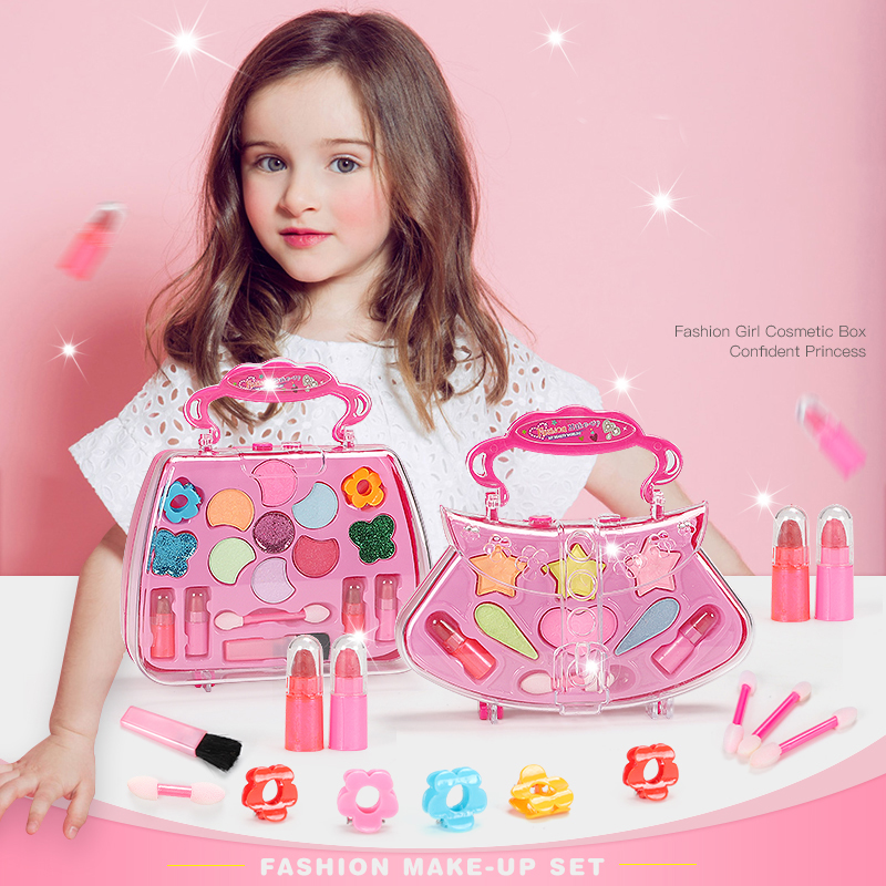 Fashion Girls Make Up Toy Set Pretend Play Princess Pink Makeup Beauty Safety Non-toxic Kit Toys For Dressing Cosmetic Kids Gift