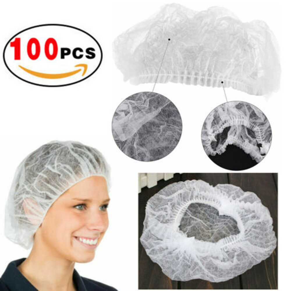 For Spa Hair Salon Beauty Accessories Double Ribbon Non-woven Disposable Shower Caps Pleated Anti Dust Hat Women Men Bath