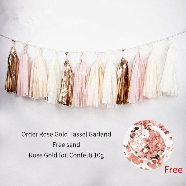 1 takım düğün bebek gelin doğum günü partisi dekor bej gül altın pembe doku kağıt DIY püskül Garland kiti kağıt zanaat malzemeleri