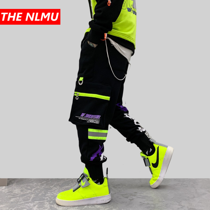 Hip Hip Black Patchwork Harem Pants Men Joggers Pant 2019 Autumn Letter Graffiti Fashion Streetwear Dancing Trousers WG603