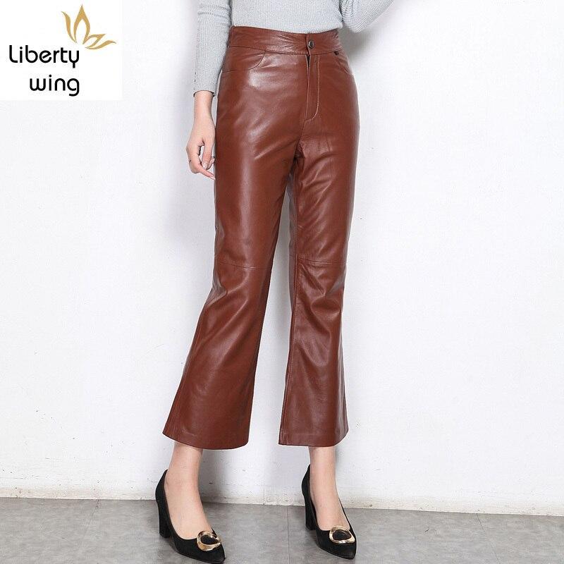 Pantalons 2020 nouveau femmes Streetwear Long Calcas pantalon mince en cuir véritable en peau de mouton solide femme mode Flare pantalon