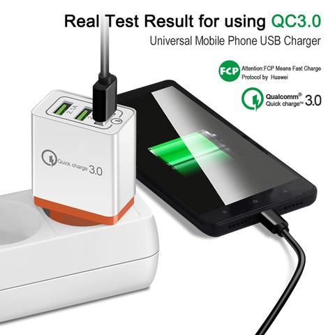 3 Ports Quick Charger 3.0 USB Charger Power Wall Adapter for iPhone iPad Samsung Xiaomi Mobile Phones QC3.0 Travel Fast Charger Karachi