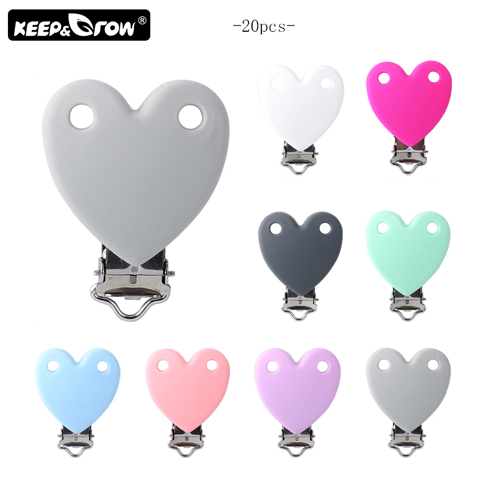Keep&Grow 20Pcs/Lot Heart Shaped Silicone Pacifier Clips Baby Teethers Metal Nipple Holder Silicone Beads DIY Tool Accessories