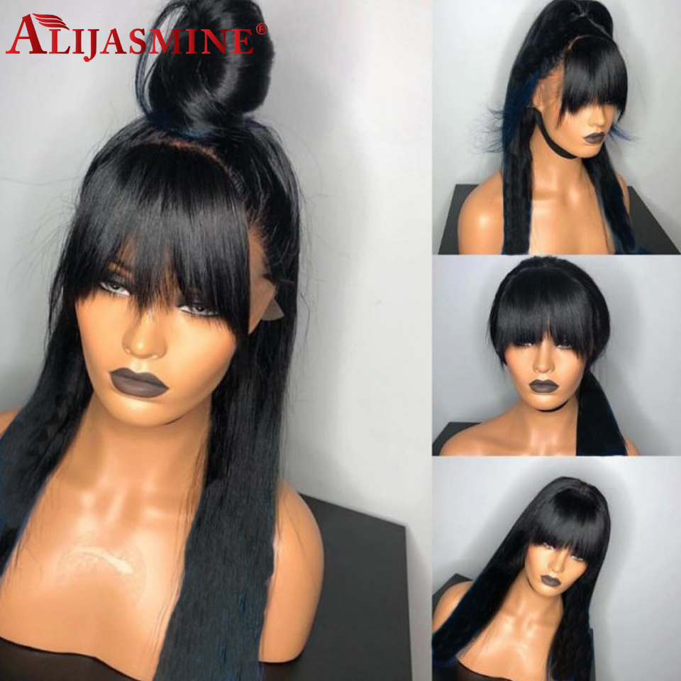 Silk Straight 360 Lace Frontal Human Hair Wigs With Bangs For Black Women 13x4 Lace Front Wigs Peruvian Remy Hair Bang Wigs