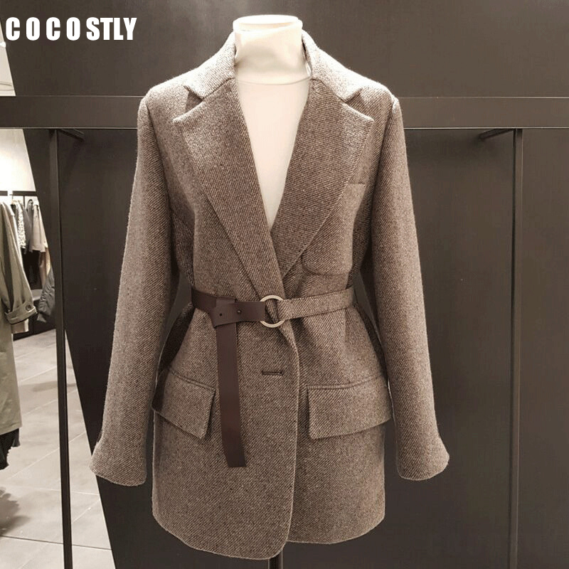 New 2020 Korean Vintage Wool Blazer Women Blazers And Jackets With Belt Female Retro Suits Coat Spring Autumn Blazers Outerwear