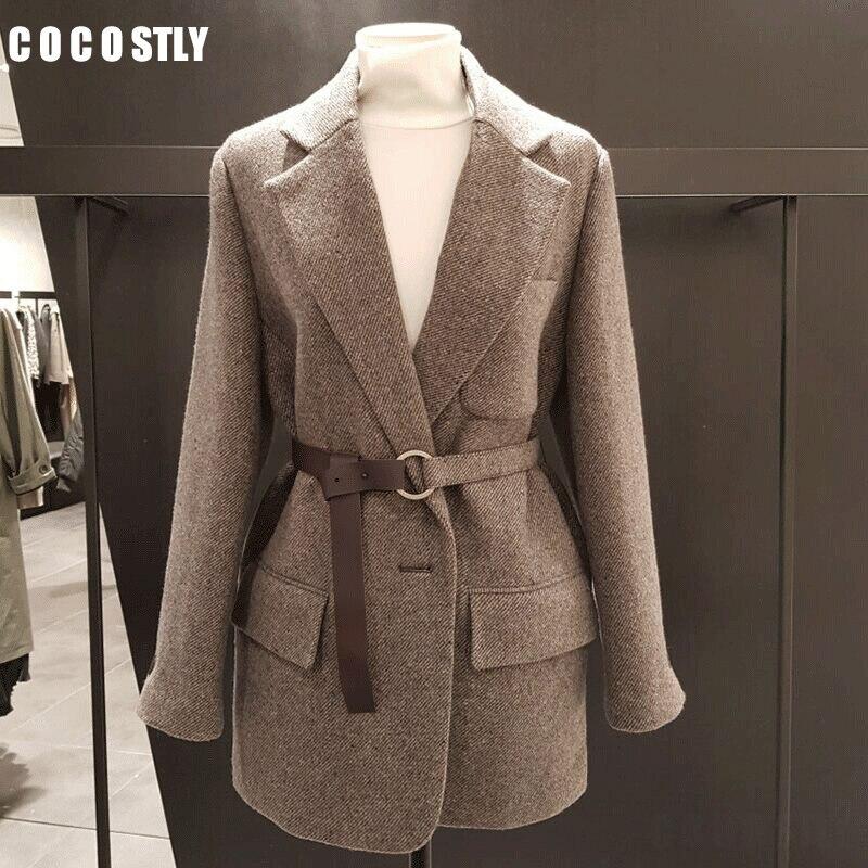New 2020 Korean Vintage Wool Blazer Women Blazers And Jackets With Belt Female Retro Suits Coat Spring Autumn Blazers Outerwear