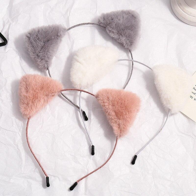 Xwen-Diadema de pelo de felpa para mujer, cinta de pelo de oreja de gato, horquilla francesa para niña, tocado que combina con todo, Otoño Invierno, OH1493, 2020