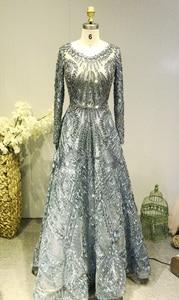 Image 4 - Dubaj suknia wieczorowa z długimi rękawami linia kryształowa koronki z kryształkami luksusowa suknia wieczorowa sukienka na formalną imprezę Vestido de Festa Longo