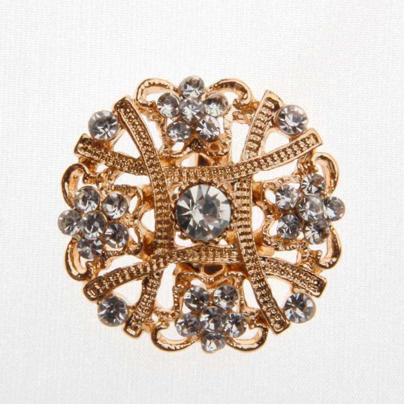 Broche de flores de ouro banhado meta, strass, broche de flores de ouro, pinos para buquê de casamento, broche para bolsas de festa de noiva, caixa de presente