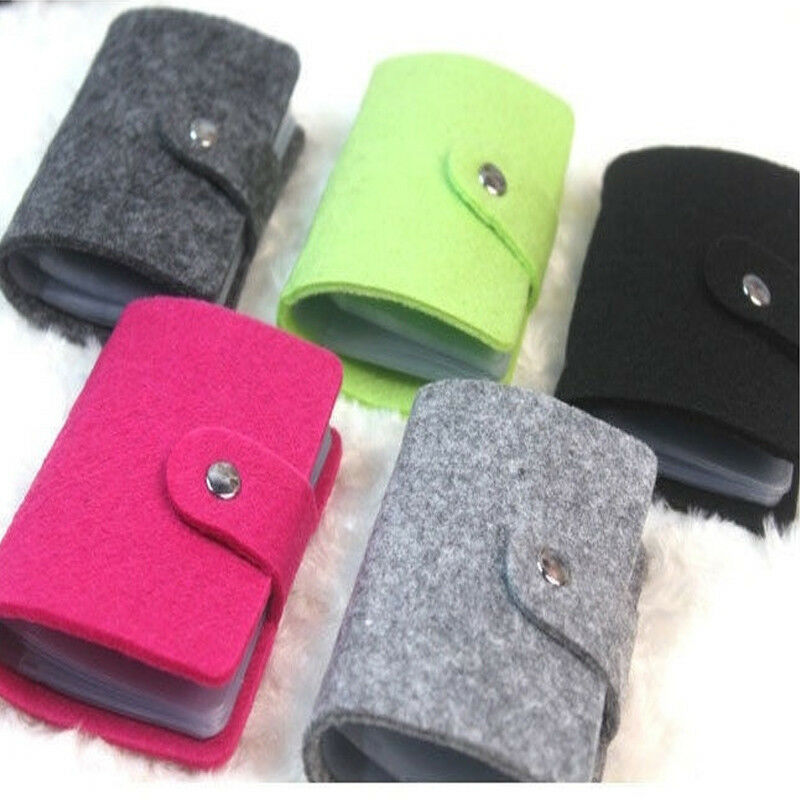 Solid Color Mini 24-card Felt Multi-card Type ID Credit Card Case Package Bag Holder 2019 Business Card Case Unisex ID Holders