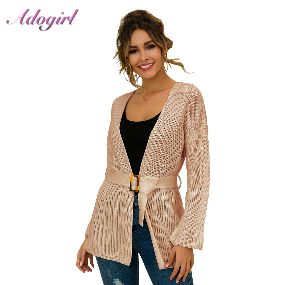 Sweater Women Casual Long Sleeve With Belt Loose Knitted Cardigans New Antumn Winter Outwear Tops Cardigans Sweaters Femme Coat