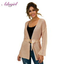 Sweater Women Casual Long Sleeve With Belt Loose Knitted Cardigans New Antumn Winter Outwear Tops Sweaters Femme Coat