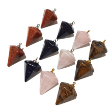 4 Colors Natural Stone Pendants for Jewelry Making Fashion Accessory  Irregular Crystal Pendant 25x17mm