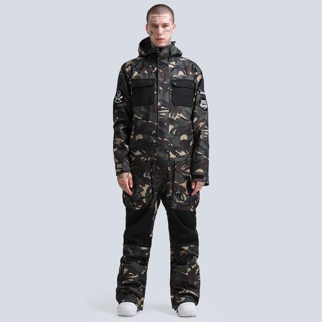 -30 Jumpsuit Men's and Women's Snow Suit Wear Outdoor Sports Ski Costumes 15K Waterproof Snowboard Clothing Jacket Winter Coats 10