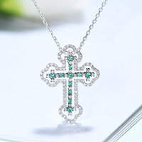 Religious Cross Diamond Natural Emerald 18K Solid Real Genuine Gold AU750 Pendant Necklace for Women Upscale Gemstone Clavicle