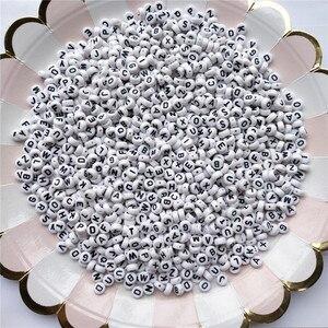 50 шт., Круглый, белый, акриловый бусины с буквами для самостоятельного изготовления браслетов, ожерелий, украшений, 7 мм