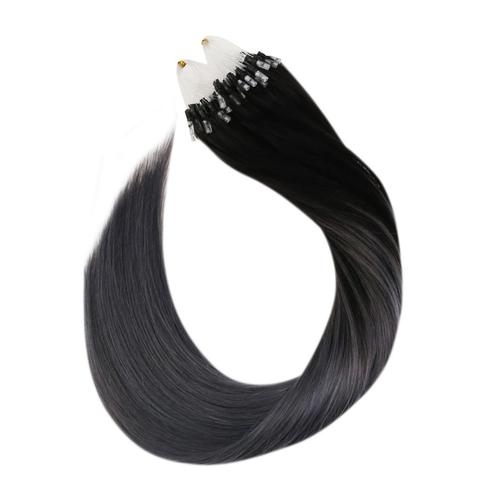 Ugeat Micro Loop Human Hair Extensions Balayage 1B/Silver Ombre Machine Remy Hair 14-24inch 50g/100g Micro Ring Hair Extensions