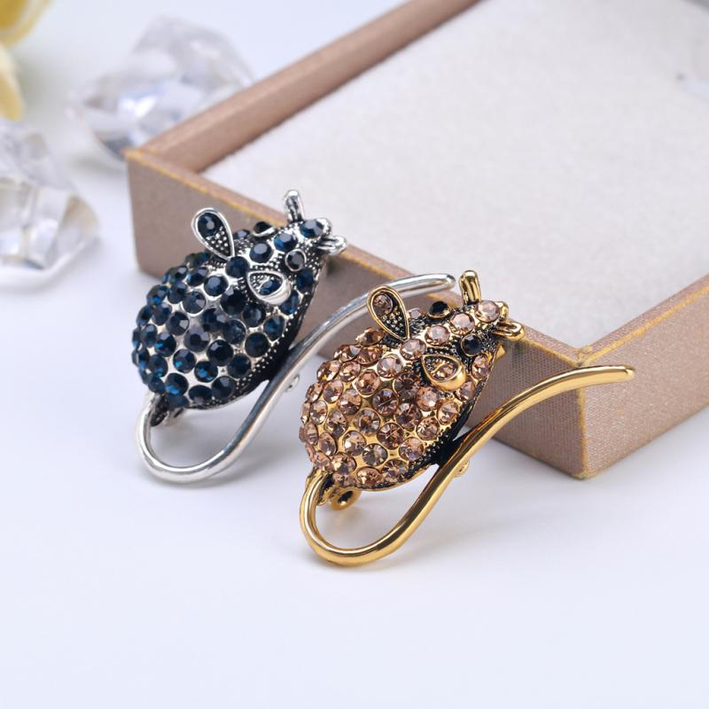 Wild Animal Brooch Simple Personality Alloy Diamond Mouse Boutonniere Unisex Dress Accessories