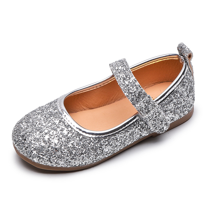 Kids Leather Shoes Girls Toddlers Mary Janes Shoes Princess Sweet Wedding Party Bling Child Flower Girl Shoes Gold Silver 21-30