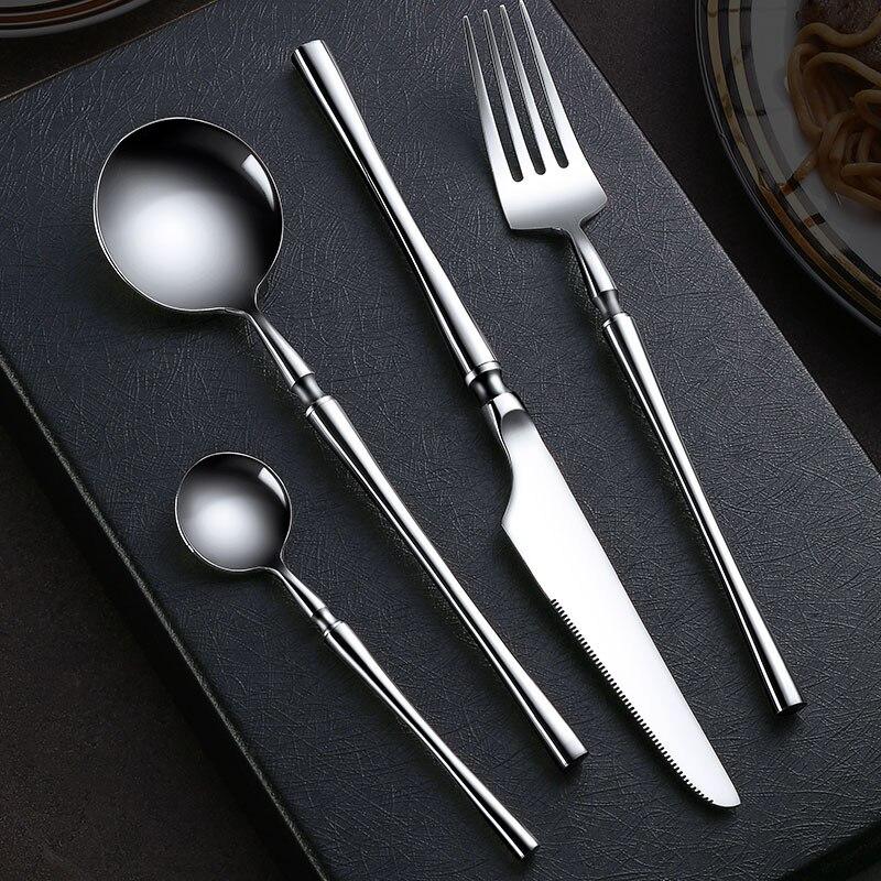 Cutlery Set 304 Stainless Steel Western Tableware Eating Steak Knife and Fork Spoon Household Dinnerware Set
